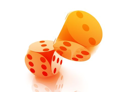randomness: Rolling dice illustration, glossy metal chrome style