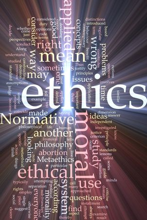 justify: Word cloud concept illustration of moral ethics glowing light effect