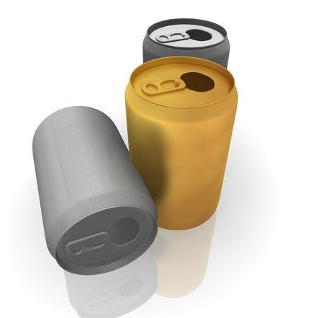 gold cans: Oro e argento bere lattine di soda illustrazione