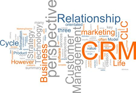 Word cloud concept illustration of CRM Customer Relationship Management illustration