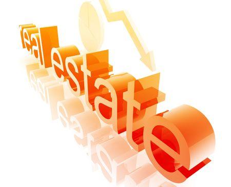 De bienes inmuebles econom�a de bienes ilustraci�n tendencia a la baja empeoramiento de concepto Foto de archivo - 5092631