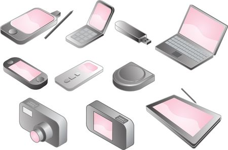 Illustration of various electronic gadgets in isometric format Stock Illustration - 5092771