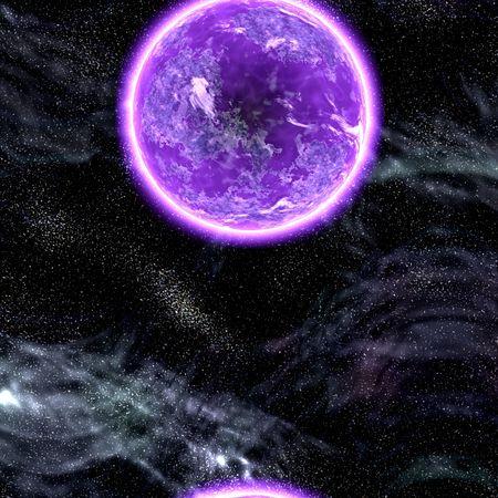 Science fiction planet complex space scene illustration Stock Illustration - 5092608