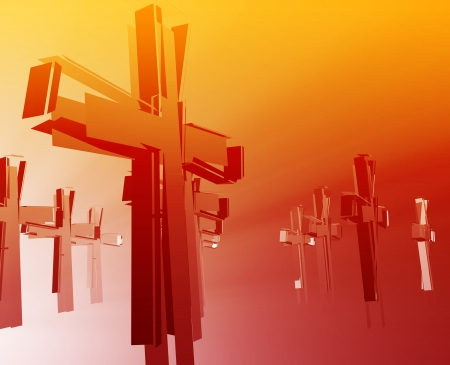 Loss of faith religion, illustrated by broken christian church crosses photo