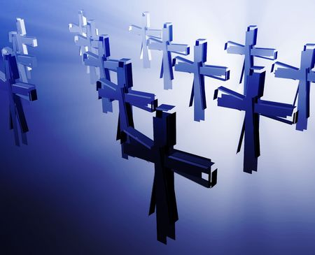 rites: Loss of faith religion, illustrated by broken christian church crosses