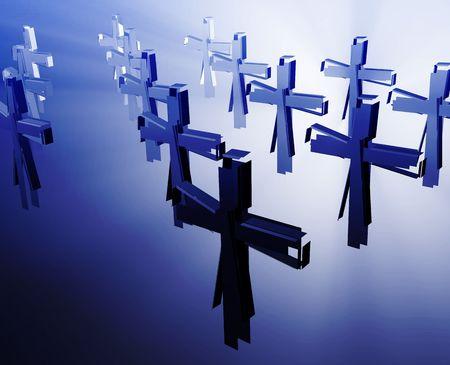 christian crosses: Loss of faith religion, illustrated by broken christian church crosses