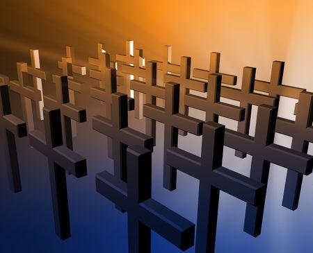 godliness: Many christian church crosses in group,  religious illustration