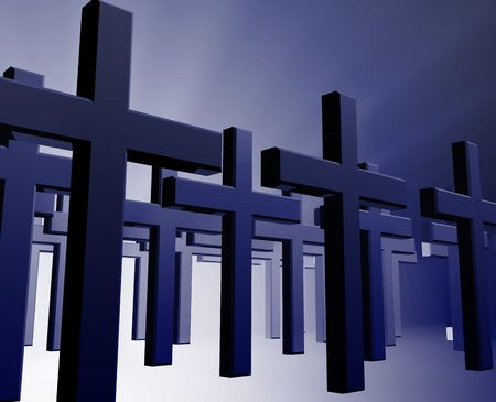rites: Many christian church crosses in group,  religious illustration