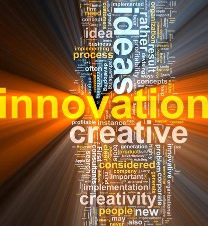 Word cloud concept illustration of innovation creative glowing light effect  Stock Photo
