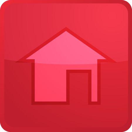square shape: Home navigation icon glossy button, square shape Stock Photo