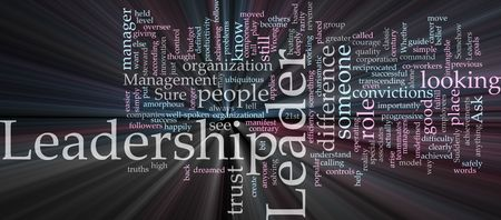 Word cloud concept illustration of leadership management glowing light effect Stock Illustration - 5092839