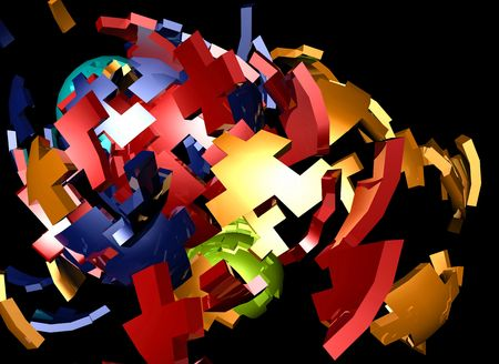 shattered: Abstract background illustration of shattered colorful geometric shapes