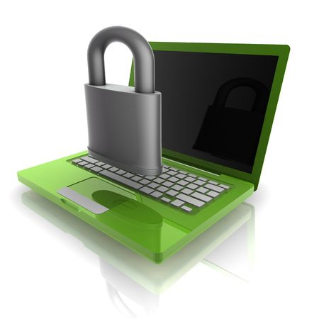 Computer internet security illustration with lock and notebook Stock Illustration - 5092623