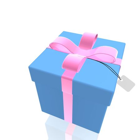 suprise: Wrapped fancy present illustration  isolated, blue and pink