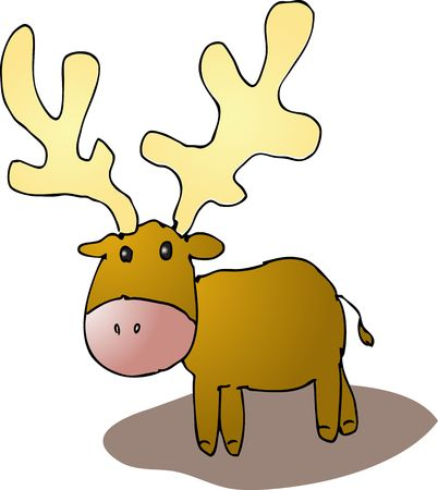 Cute cartoon reindeer standing, wild animal illustration Stock Illustration - 5092365