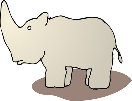 Cute cartoon rhinoceros standing, wild animal illustration Stock Illustration - 5092570