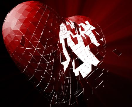 Broken shattered heart lost love glowing abstract illustration  illustration