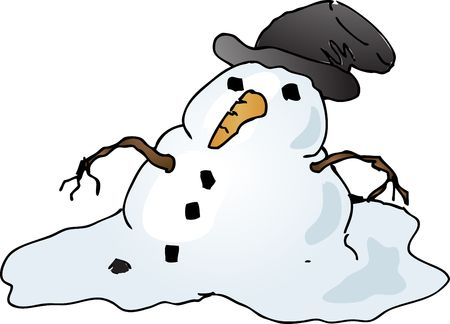 Melting depressed snowman with tophat, cartoon comic illustration
