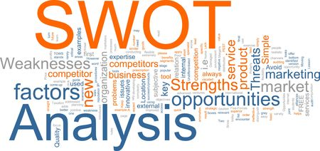 representations: Word cloud concept illustration of SWOT Analysis Stock Photo