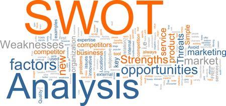 threaten: Word cloud concept illustration of SWOT Analysis Stock Photo