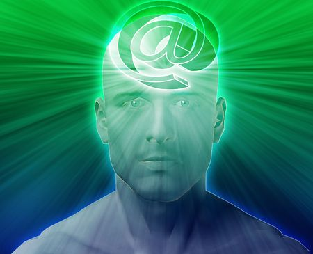 think about: Man thinking about at internet symbol, floating on her head Stock Photo