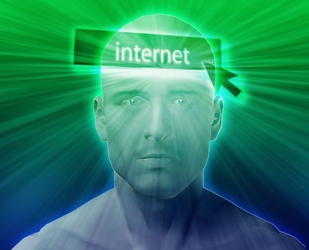 clicking: Man thinking about internet clicking,floating over head