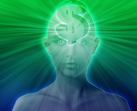 woman floating: Woman thinking about money dollars,floating over head
