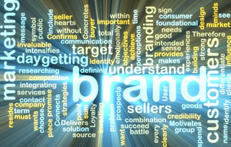 Word cloud tags concept illustration of brand marketing glowing light effect  illustration