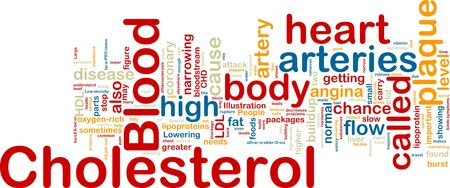 lowering: Word cloud concept illustration of  blood cholesterol Stock Photo