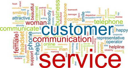 word cloud: Word cloud concept illustration of customer service Stock Photo
