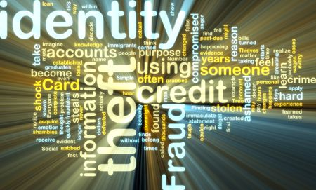 acquire: Word cloud tags concept illustration of identity theft glowing light effect  Stock Photo