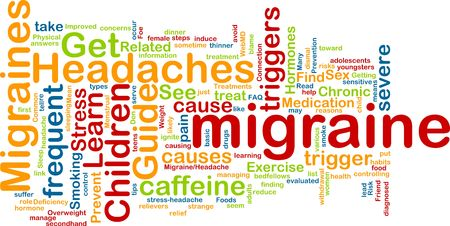 deficiency: Word cloud concept illustration of  migraine headache
