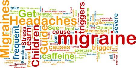 hormonen: Word wolk concept illustratie van migraine hoofdpijn