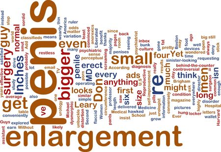 penis: Word cloud concept illustration of  penis enlargement