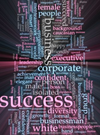 business diversity: Word cloud concept illustration of business success glowing light effect  Stock Photo