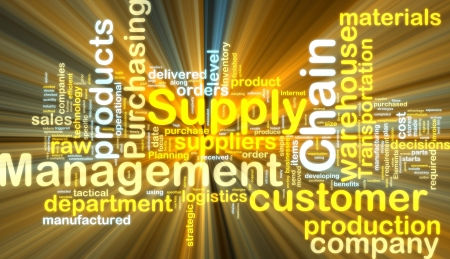 Word cloud tags concept illustration of supply chain management glowing light effect  Stock Photo