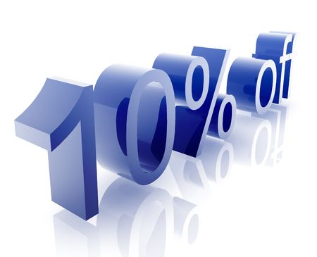 retailing: Ten Percent discount, retail sales promotion announcement illustration