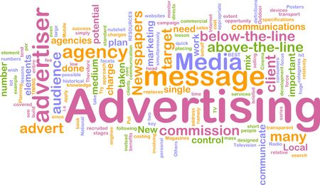 Word cloud concept illustration of advertising marketing illustration