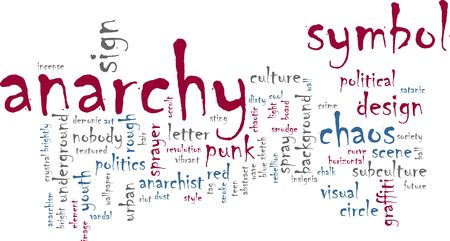 anarchism: Word cloud concept illustration of  anarchy chaos