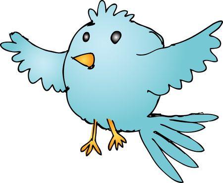 Cute fat rounded cartoon flying bird wild animal illustration Stock Illustration - 5158505