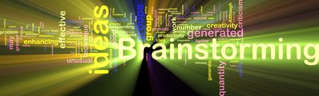 provide: Word cloud concept illustration of Brainstorming brain storming glowing light effect