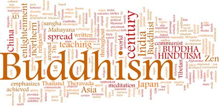 Word cloud concept illustration of  Buddhism religion illustration
