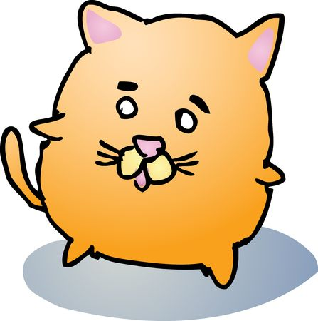 Fat rounded cute cat cartoon comic illustration illustration