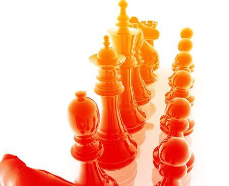 Chess set pieces illustration, glossy chrome metal style illustration
