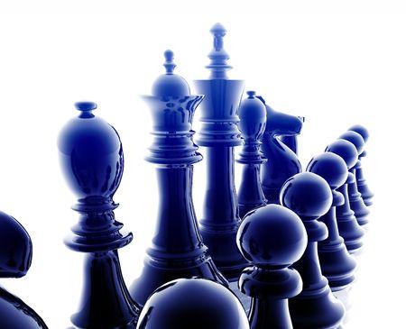 Chess set pieces illustration, glossy chrome metal style Stock Illustration - 5158423