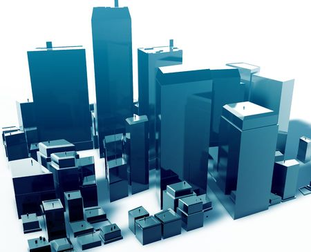high rise building: Abstract generic city with modern office buildings illustration