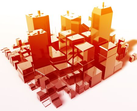high rises: Abstract generic city with modern office buildings illustration
