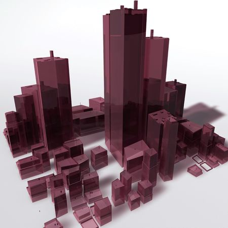 urban planning: Abstract generic city with modern office buildings illustration