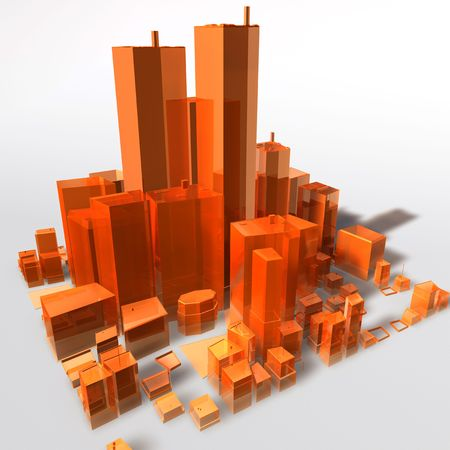 Abstract generic city with modern office buildings illustration Stock Illustration - 5158448