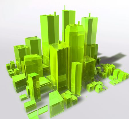 Abstract generic city with modern office buildings illustration Stock Illustration - 5158484